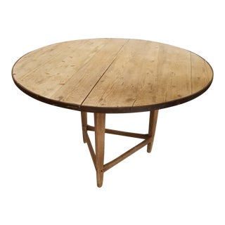 Antique Pine and Iron Strapped Cricket Table For Sale