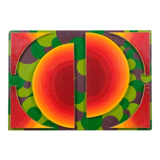 Colorful Geometric Wood Sculpture on Board by Suppe For Sale