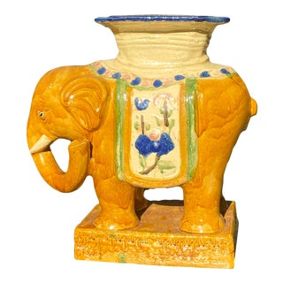 Vintage Hand Painted Double Happiness Elephant Glazed Garden Stool For Sale
