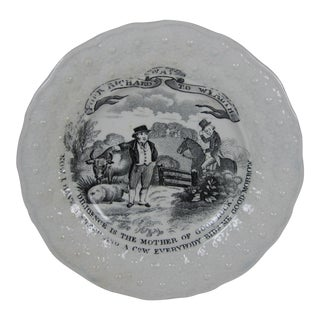 Stafordshire Transferware Cup Plate, Poor Richards Way to Wealth, circa 1850 For Sale