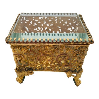 19th Century Bronze Gilded Trinket Box For Sale