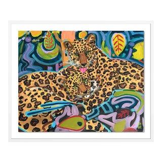 Jaguars by Jelly Chen in White Framed Paper, Medium Art Print For Sale