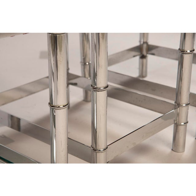 Italian Hollywood Regency Nickel Plated Faux Bamboo Stools - a Pair For Sale In Detroit - Image 6 of 12