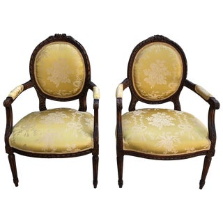 Mid 19th Century French Louis XVI Bergere Chairs- A Pair For Sale