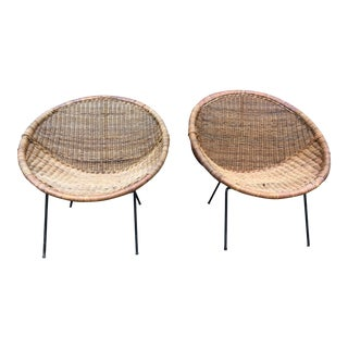 Mid-Century Round Rattan Hoop Chairs - a Pair For Sale