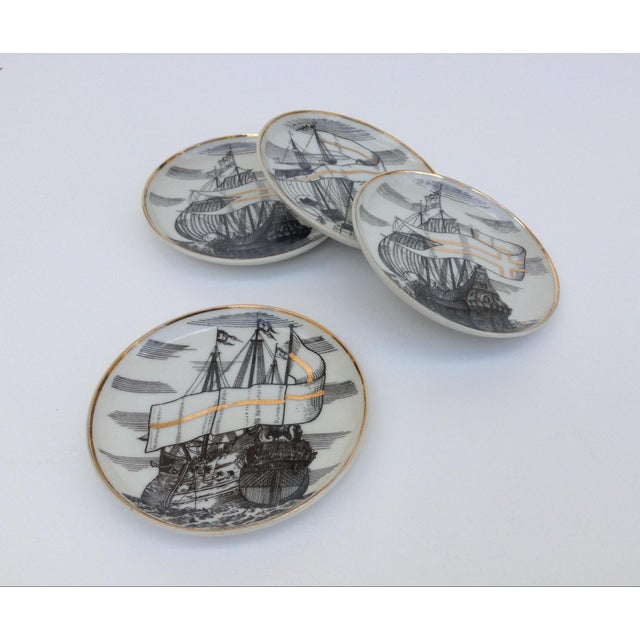 "Asian Fornasetti Attr. Tall Ships ""Velieri"" Coasters - Set of 4 For Sale - Image 3 of 11"