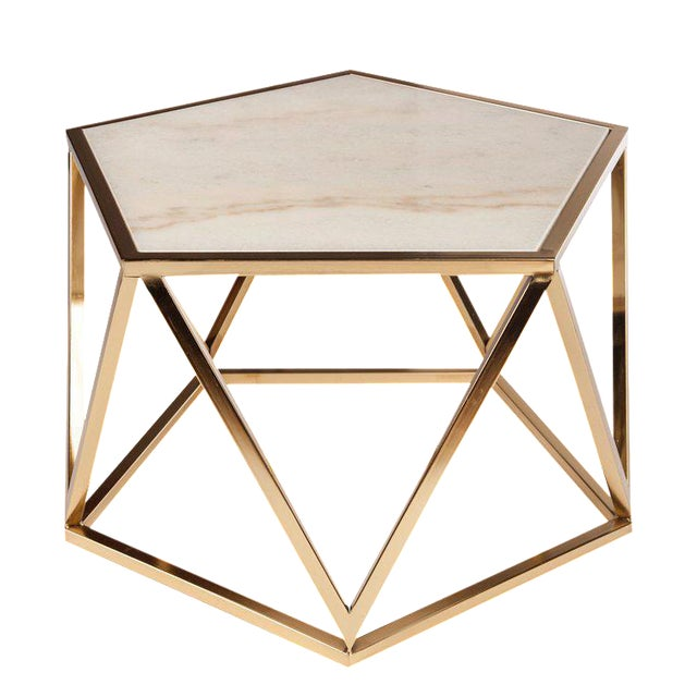 Charlyn Marble Coffee Table-White and Gold For Sale