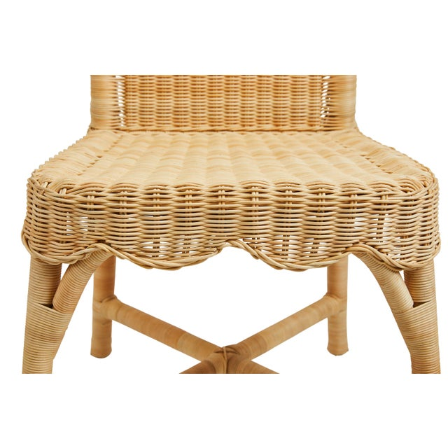 Linton Scalloped Rattan Side Chairs, Set of 2 For Sale In Nashville - Image 6 of 12