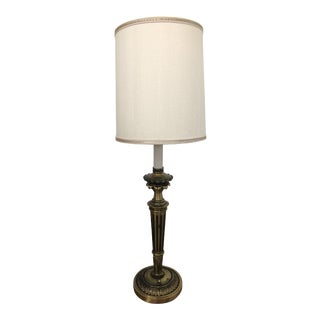 Art Deco Stiffel Brass Lamp With Shade For Sale
