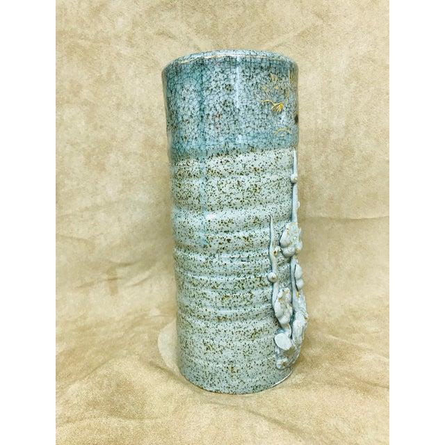 Vintage Speckled Crackled Glaze Hand Crafted Pottery Vase For Sale - Image 4 of 9