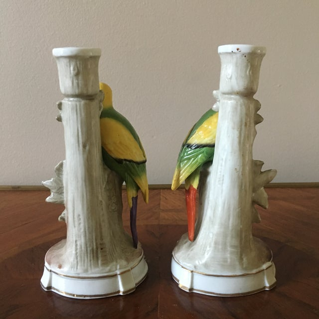 Vintage German Porcelain Parrot Candle Holders- a Pair For Sale - Image 4 of 8
