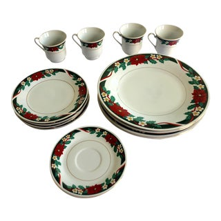 Tienshan Holiday Fine China Four 4-Piece Place Settings Dinnerware - 16 Pc. Set