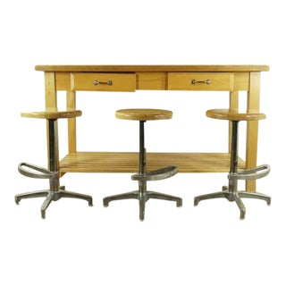 Contemporary Williams Sonoma Two Drawer Butcher Block Table & Stools - 4 Pieces