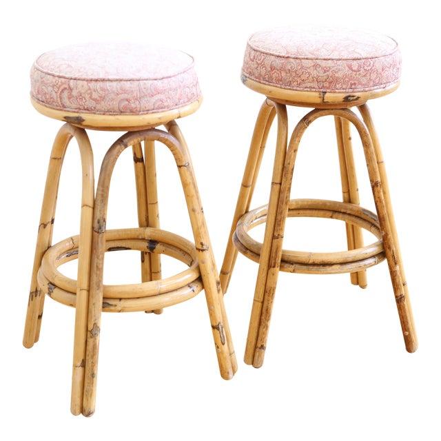 Vintage boho chic rattan bamboo swivel bar stools set of