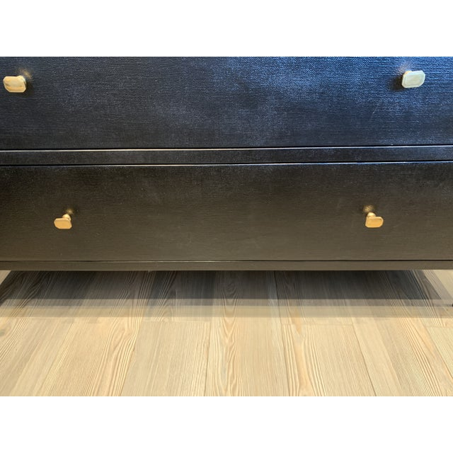 Black Contemporary Faux Linen Dresser in Black For Sale - Image 8 of 13