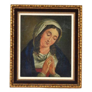 """18th / 19th Century Antique """"Madonna"""" Oil on Canvas Painting For Sale"""