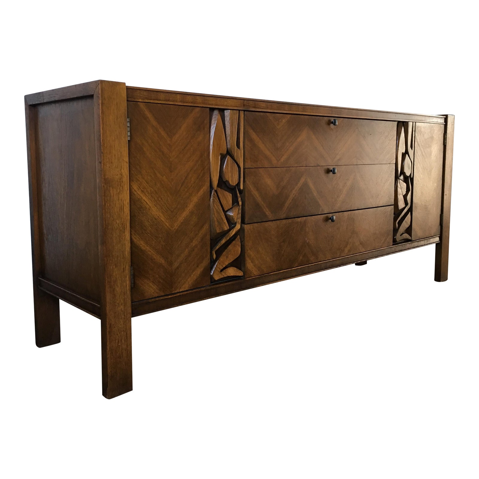 Vintage United Furniture Mid Century Modern Brutalist Credenza - Chairish