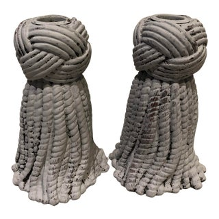 Rope Style Wood Candleholders, a Pair