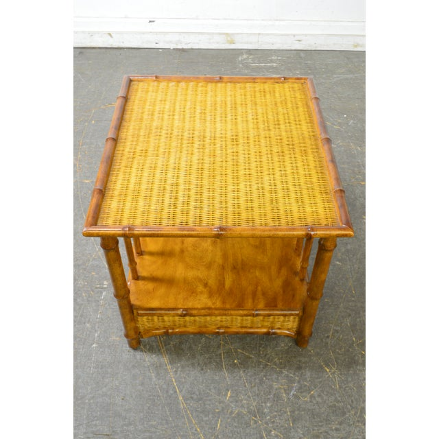 1970s Faux Bamboo & Wicker Side Table by American of Martinsville For Sale - Image 5 of 13
