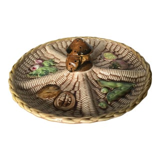 Mid Century Majolica Appetizer Plate With Mushroom For Sale
