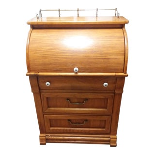 1950s Vintage Pulaski Oak Roll-Top Lady's Secretary Desk For Sale