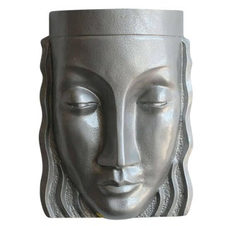 Art Deco Sculptural Female Face Wall Sconce, Rare For Sale