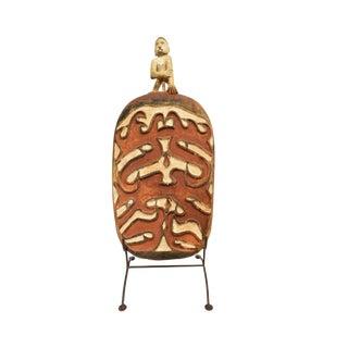 Important Oceanic Carved Asmat Tribal Sago Bowl Serving Platter Shield For Sale