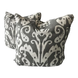 Brown and Ivory Ikat Throw Pillow Covers - a Pair
