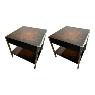 Pair of Lacquered and Bronze Tables by Maison Charles. France, 1970s For Sale