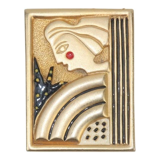 1980s Vintage Art Deco Revival Gold Tone Brooch For Sale
