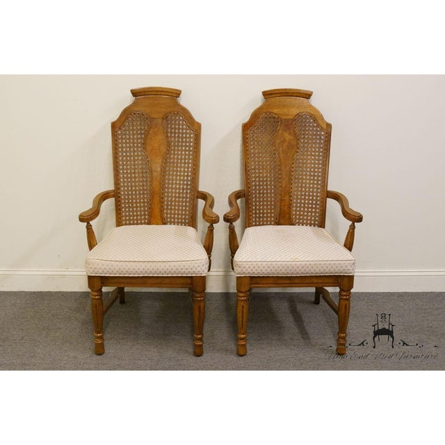 """Set of 2 HENRY LINK / DIXIE Contemporary Style Cane Back Dining Arm Chairs 351-883 44"""" High 24.5"""" Wide 25"""" Deep Seat: 19""""..."""
