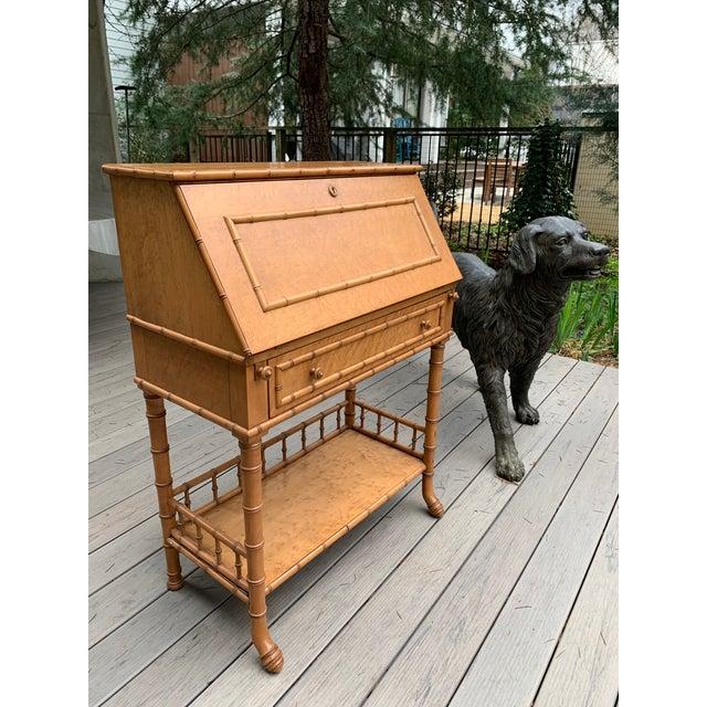 Antique Birds Eye Maple Faux Bamboo Secretary Desk For Sale - Image 10 of 11