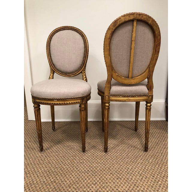 1940s Vintage Gilt French Oval Back Chairs- a Pair For Sale - Image 10 of 10