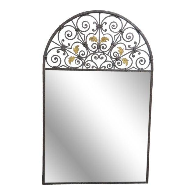 Casa Bique Hand Hammered Iron & Brass Mirror For Sale