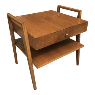 Mid Century Side Table Floating Walnut Nightstand Two Tier For Sale