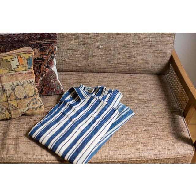Cotton Vintage Hand Woven Indigo Stripe Throw For Sale - Image 7 of 7