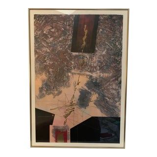 1980s Rauschenberg Style Abstract Lithograph Print For Sale
