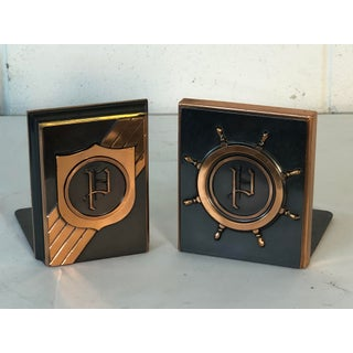 1960s Copper Monogrammed Bookends, Pair Preview