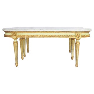French Marble Top Side Tables, Pr For Sale