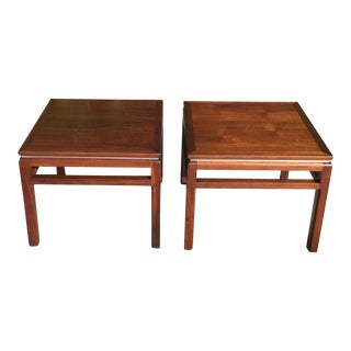 Mid Century Pair of Walnut Side Tables For Sale