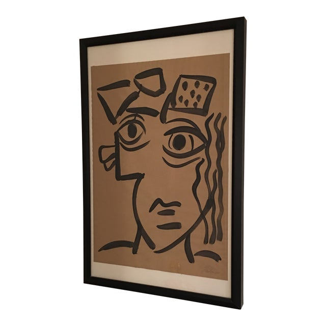 1964 Cubist Abstract Face Painting by Peter Keil For Sale