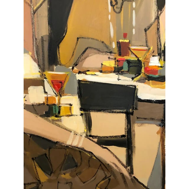 1990s Very Large Original French Cafe Scene Painting by Isaac Maimon For Sale - Image 5 of 11