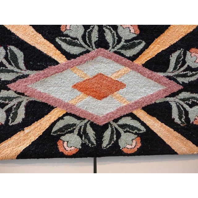 1930s Fantastic Floral and Graphic Mounted Hand-Hooked Rug For Sale - Image 5 of 5