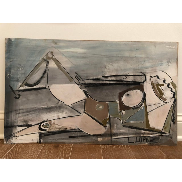 1960s 1960s Vintage Lucia Lopez Abstract Cubist Nude Painting For Sale - Image 5 of 5