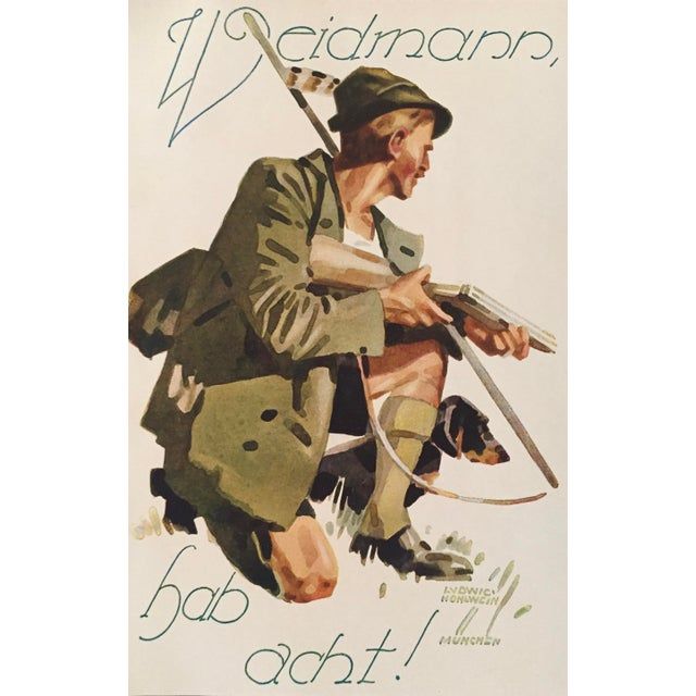 Date: 1927 Size: 6 x 9 inches Artist: Ludwig Hohlwein This mini lithographic poster for Weidmann hunting munitions is by...
