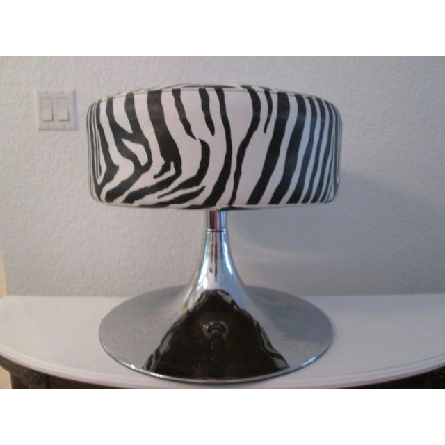 Hollywood Regency Black & White Zebra Print Chrome Ottoman For Sale - Image 3 of 9