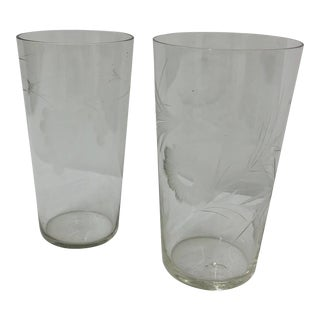 Antique Etched Glass Tumbler Cups For Sale