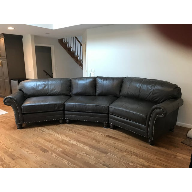 King Hickory Gray-Brown Leather Sectional For Sale - Image 13 of 13