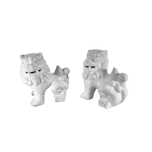 Late 20th Century Vintage Late 20th Century High Gloss White Ceramic Foo Dogs - a Pair For Sale - Image 5 of 5