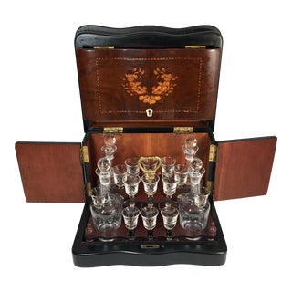 Antique French Tantalus Cordial Set in Burl Inlaid Wood Box - Set of 20 For Sale